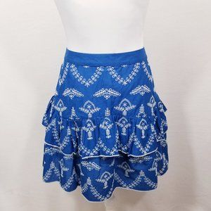 Asos Blue Tiered Skirt w/Embroidery - Size 12 -NWT